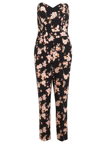 Printed Bandeau Jumpsuit - length: standard; neckline: strapless (straight/sweetheart); fit: tailored/fitted; sleeve style: strapless; secondary colour: blush; predominant colour: black; occasions: casual, evening, occasion, creative work; fibres: polyester/polyamide - stretch; sleeve length: sleeveless; style: jumpsuit; pattern type: fabric; pattern size: standard; pattern: florals; texture group: other - light to midweight; trends: furious florals; season: s/s 2014