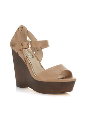 Mamma Mia Wedge - secondary colour: chocolate brown; predominant colour: camel; occasions: casual, creative work; material: faux leather; ankle detail: ankle strap; heel: wedge; toe: open toe/peeptoe; style: standard; finish: plain; pattern: plain; heel height: very high; shoe detail: platform; season: s/s 2014