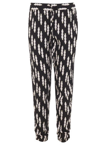 Petites Printed Jogger - length: standard; style: peg leg; waist: low rise; waist detail: belted waist/tie at waist/drawstring; secondary colour: white; predominant colour: black; occasions: casual, evening; fibres: viscose/rayon - 100%; fit: tapered; pattern type: fabric; pattern: patterned/print; texture group: other - light to midweight; season: s/s 2014; trends: monochrome; pattern size: big & busy (bottom)