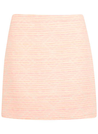 Aztec Boucle Skirt - length: mini; fit: tailored/fitted; waist: high rise; pattern: herringbone/tweed; predominant colour: nude; occasions: casual, evening, creative work; style: mini skirt; fibres: cotton - mix; pattern type: fabric; texture group: tweed - light/midweight; season: s/s 2014
