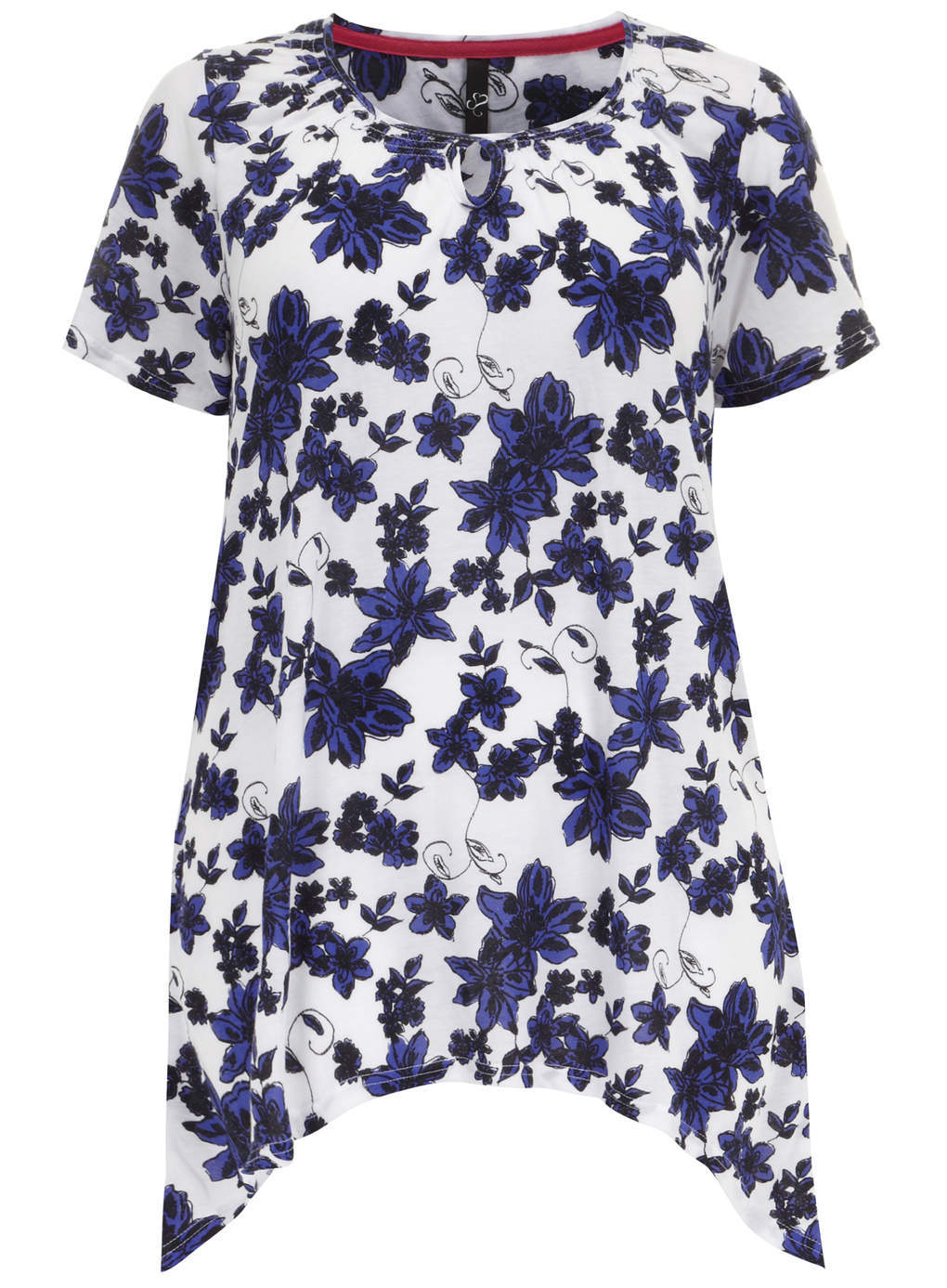 Floral Print Top With Hanky Hem - neckline: round neck; length: below the bottom; secondary colour: white; predominant colour: navy; occasions: casual, evening, creative work; style: top; fibres: polyester/polyamide - mix; fit: body skimming; hip detail: dip hem; sleeve length: short sleeve; sleeve style: standard; pattern type: fabric; pattern size: standard; pattern: florals; texture group: jersey - stretchy/drapey; trends: furious florals; season: s/s 2014