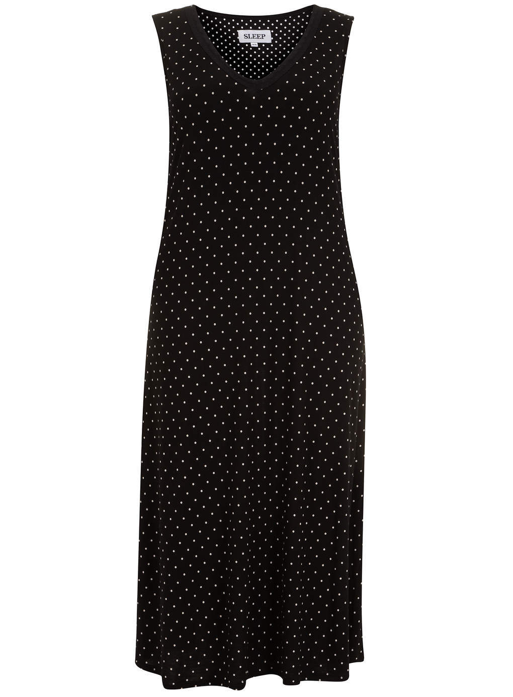 Black & White Polka Dot Long Nightdress - length: calf length; neckline: v-neck; sleeve style: sleeveless; style: maxi dress; pattern: polka dot; secondary colour: white; predominant colour: black; occasions: casual; fit: body skimming; fibres: viscose/rayon - 100%; sleeve length: sleeveless; pattern type: fabric; pattern size: standard; texture group: jersey - stretchy/drapey; season: s/s 2014; trends: monochrome