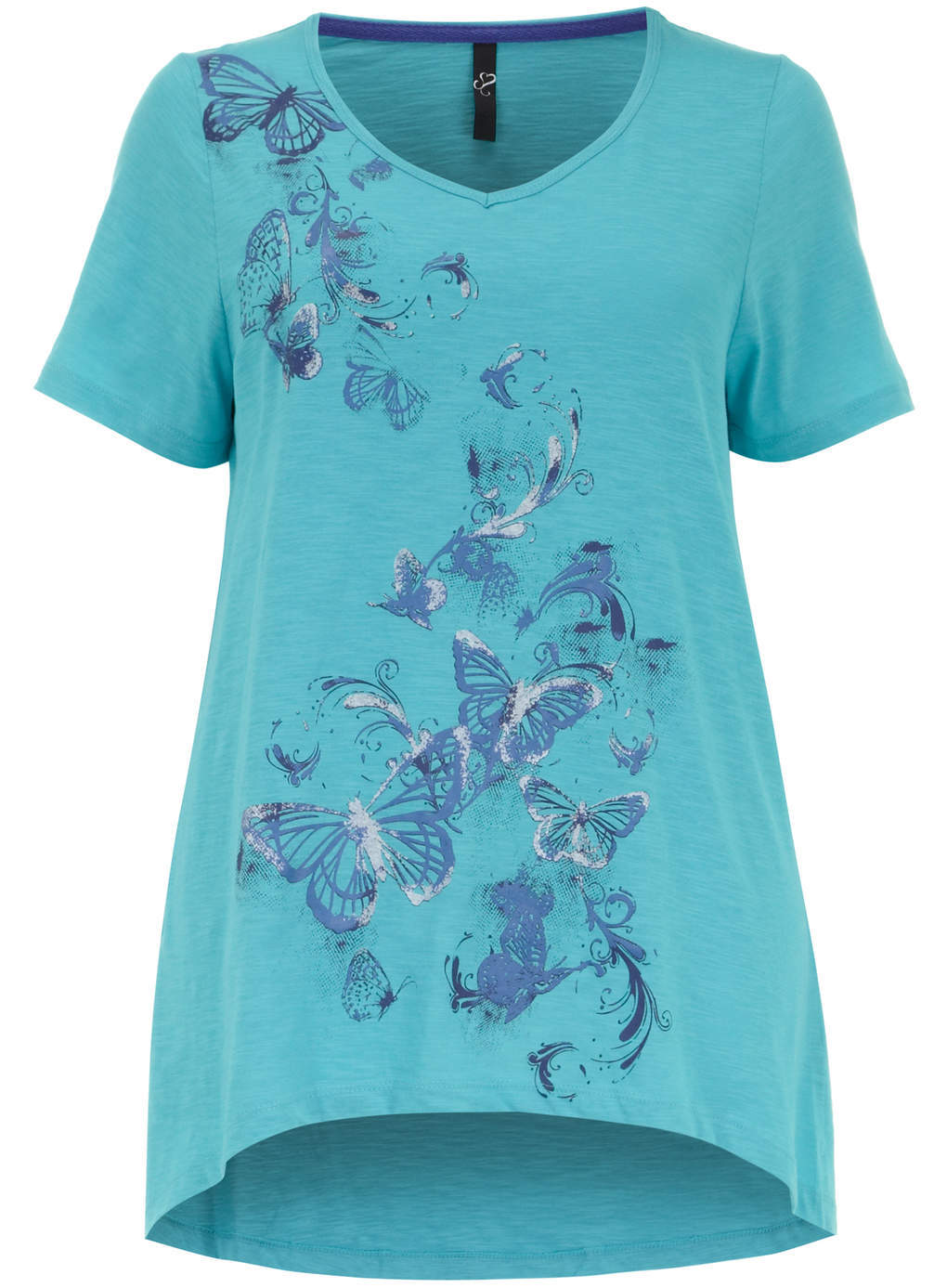 Turquoise Butterfly Motif T Shirt - neckline: v-neck; length: below the bottom; style: t-shirt; predominant colour: turquoise; occasions: casual; fibres: cotton - 100%; fit: loose; back detail: longer hem at back than at front; sleeve length: short sleeve; sleeve style: standard; pattern type: fabric; pattern size: standard; pattern: patterned/print; texture group: jersey - stretchy/drapey; season: s/s 2014