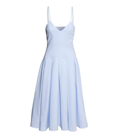 Cotton Dress - length: calf length; neckline: low v-neck; sleeve style: spaghetti straps; pattern: plain; predominant colour: pale blue; occasions: casual, occasion; fit: fitted at waist & bust; style: fit & flare; fibres: cotton - 100%; hip detail: adds bulk at the hips; sleeve length: sleeveless; texture group: cotton feel fabrics; pattern type: fabric; season: s/s 2014