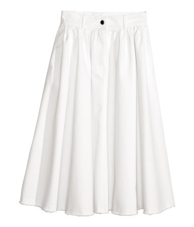 Wide Denim Skirt - length: below the knee; pattern: plain; fit: loose/voluminous; waist: high rise; predominant colour: white; occasions: casual; style: a-line; hip detail: structured pleats at hip; texture group: denim; pattern type: fabric; trends: powerful pleats; season: s/s 2014