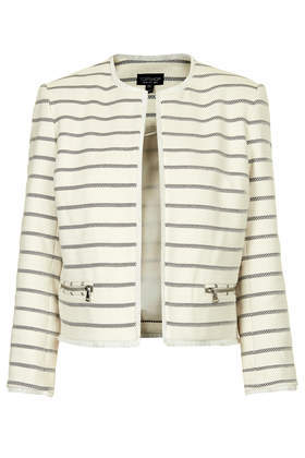 Stripe Crop Jacket - pattern: horizontal stripes; style: single breasted blazer; collar: round collar/collarless; predominant colour: ivory/cream; secondary colour: black; occasions: casual, evening, work, creative work; fit: straight cut (boxy); fibres: cotton - 100%; sleeve length: 3/4 length; sleeve style: standard; collar break: low/open; pattern type: fabric; pattern size: standard; texture group: woven light midweight; season: s/s 2014; length: cropped