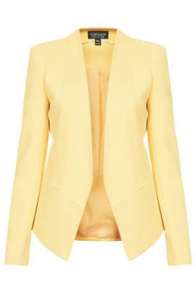 Slim Tailored Blazer - pattern: plain; style: single breasted blazer; collar: round collar/collarless; predominant colour: primrose yellow; occasions: casual, evening, work, creative work; length: standard; fit: tailored/fitted; fibres: viscose/rayon - stretch; back detail: shorter hem at back than at front; sleeve length: long sleeve; sleeve style: standard; collar break: low/open; pattern type: fabric; texture group: woven light midweight; trends: sorbet shades; season: s/s 2014