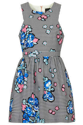 Petite Gingham And Floral Print Dress - length: mini; sleeve style: sleeveless; waist detail: fitted waist; occasions: casual; fit: fitted at waist & bust; style: fit & flare; fibres: cotton - mix; neckline: crew; predominant colour: multicoloured; sleeve length: sleeveless; pattern type: fabric; pattern size: big & busy; pattern: florals; texture group: other - light to midweight; trends: furious florals; season: s/s 2014; multicoloured: multicoloured