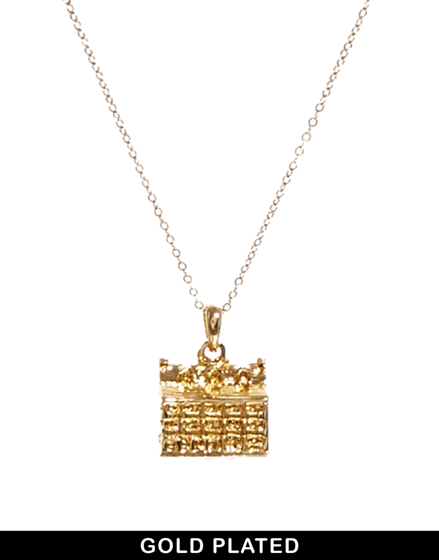 Gold Plated House Necklace Gold - predominant colour: gold; occasions: casual, evening, occasion, creative work; style: pendant; length: mid; size: small/fine; material: chain/metal; finish: metallic; season: s/s 2014