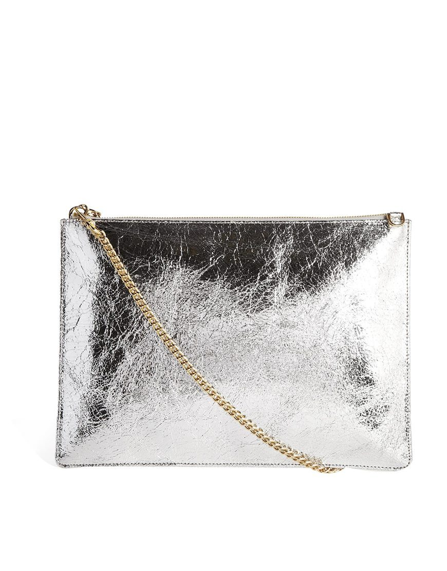 Rivington Chain Clutch In Silver Silver - predominant colour: silver; occasions: evening, occasion, creative work; style: clutch; length: hand carry; size: standard; material: leather; pattern: plain; finish: metallic; embellishment: chain/metal; trends: shimmery metallics; season: s/s 2014