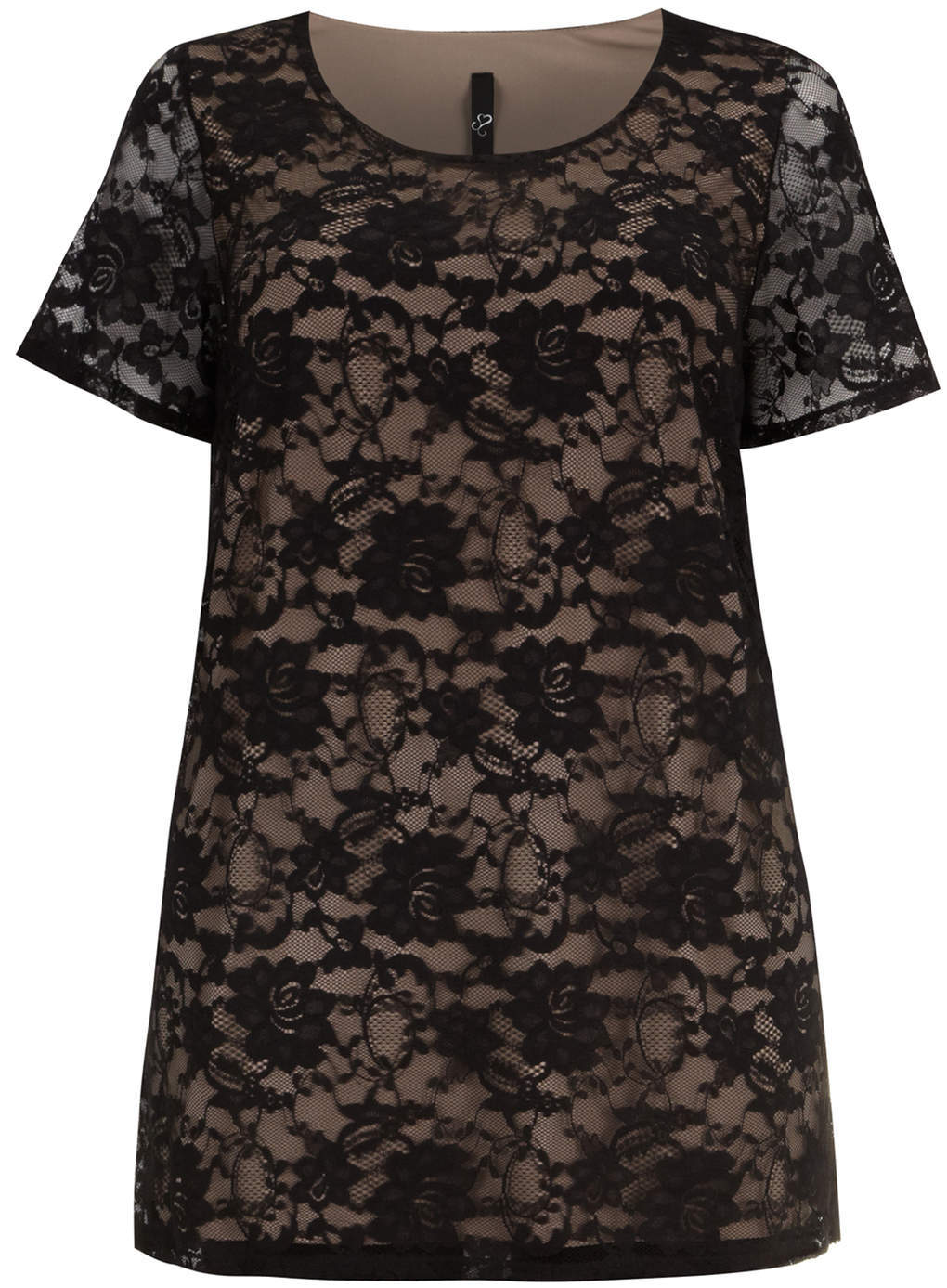 Black & Stone Lace Shell Top - neckline: round neck; length: below the bottom; style: t-shirt; predominant colour: taupe; secondary colour: black; occasions: casual, evening; fibres: nylon - mix; fit: straight cut; sleeve length: long sleeve; sleeve style: standard; texture group: lace; pattern type: fabric; pattern: patterned/print; trends: lace; season: s/s 2014
