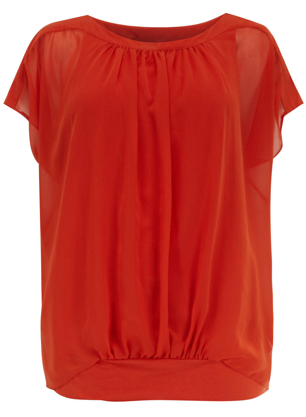Live Unlimited Orange Trim Layer Top - neckline: slash/boat neckline; sleeve style: angel/waterfall; pattern: plain; style: blouson; predominant colour: bright orange; occasions: casual, evening, creative work; length: standard; fibres: polyester/polyamide - 100%; fit: loose; sleeve length: short sleeve; texture group: sheer fabrics/chiffon/organza etc.; pattern type: fabric; season: s/s 2014