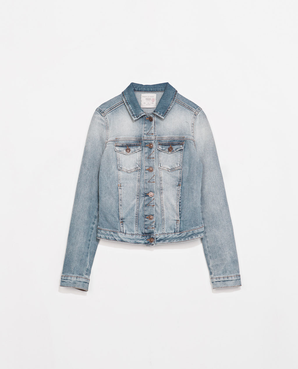 Denim Jacket - pattern: plain; style: denim; predominant colour: denim; occasions: casual; length: standard; fit: straight cut (boxy); fibres: cotton - stretch; collar: shirt collar/peter pan/zip with opening; sleeve length: long sleeve; sleeve style: standard; texture group: denim; collar break: high/illusion of break when open; pattern type: fabric; season: s/s 2014