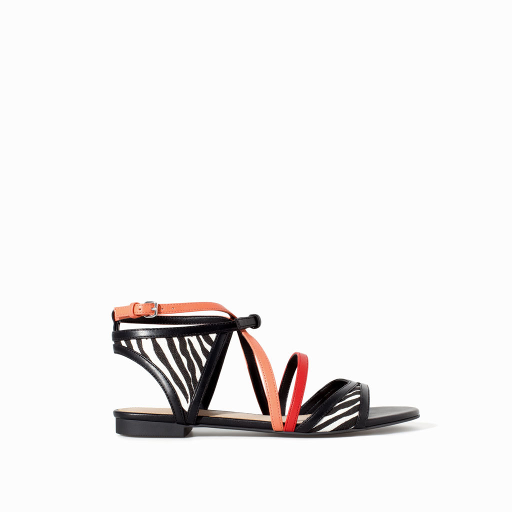 Combined Print Strappy Sandal - secondary colour: coral; predominant colour: black; occasions: casual, holiday; material: faux leather; heel height: flat; ankle detail: ankle strap; heel: standard; toe: open toe/peeptoe; style: strappy; finish: plain; pattern: animal print; season: s/s 2014