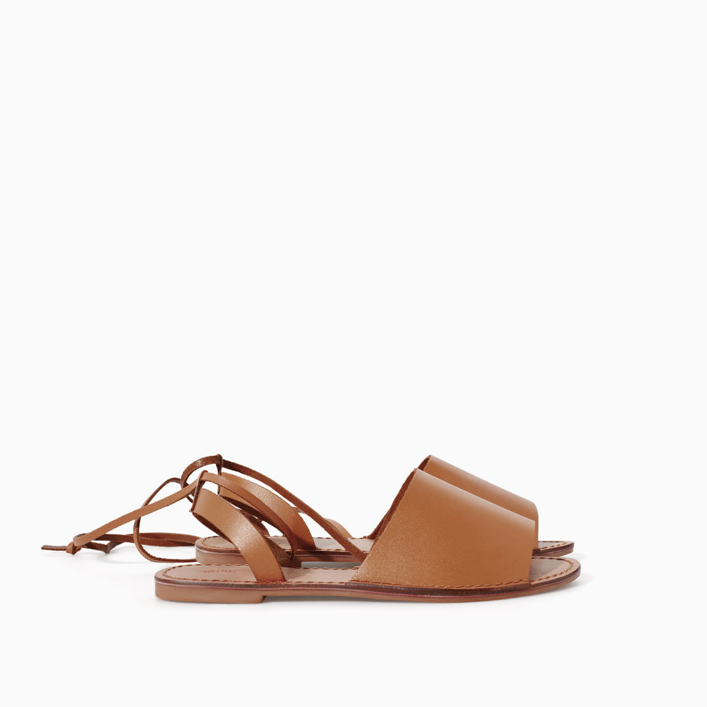 Leather Sandals - predominant colour: tan; occasions: casual, holiday; material: leather; heel height: flat; ankle detail: ankle strap; heel: standard; toe: open toe/peeptoe; style: strappy; finish: plain; pattern: plain; season: s/s 2014