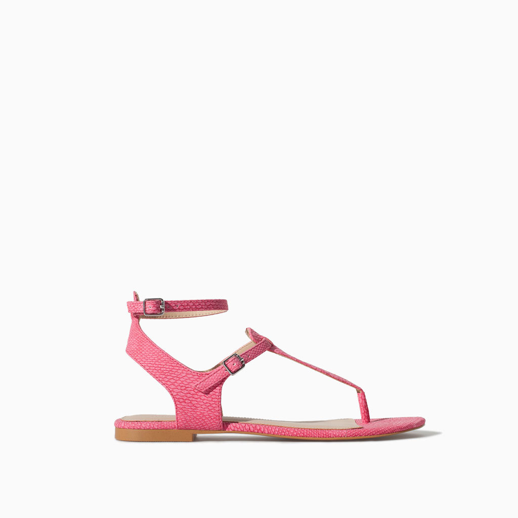 Ankle Strap Sandal - predominant colour: pink; occasions: casual, holiday; material: faux leather; heel height: flat; ankle detail: ankle strap; heel: standard; toe: toe thongs; style: strappy; finish: plain; pattern: plain; season: s/s 2014