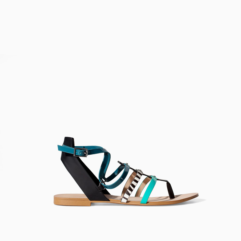 Strappy Flat Sandal - occasions: casual, holiday; predominant colour: multicoloured; material: faux leather; heel height: flat; ankle detail: ankle strap; heel: standard; toe: toe thongs; style: strappy; finish: plain; pattern: patterned/print; season: s/s 2014; multicoloured: multicoloured