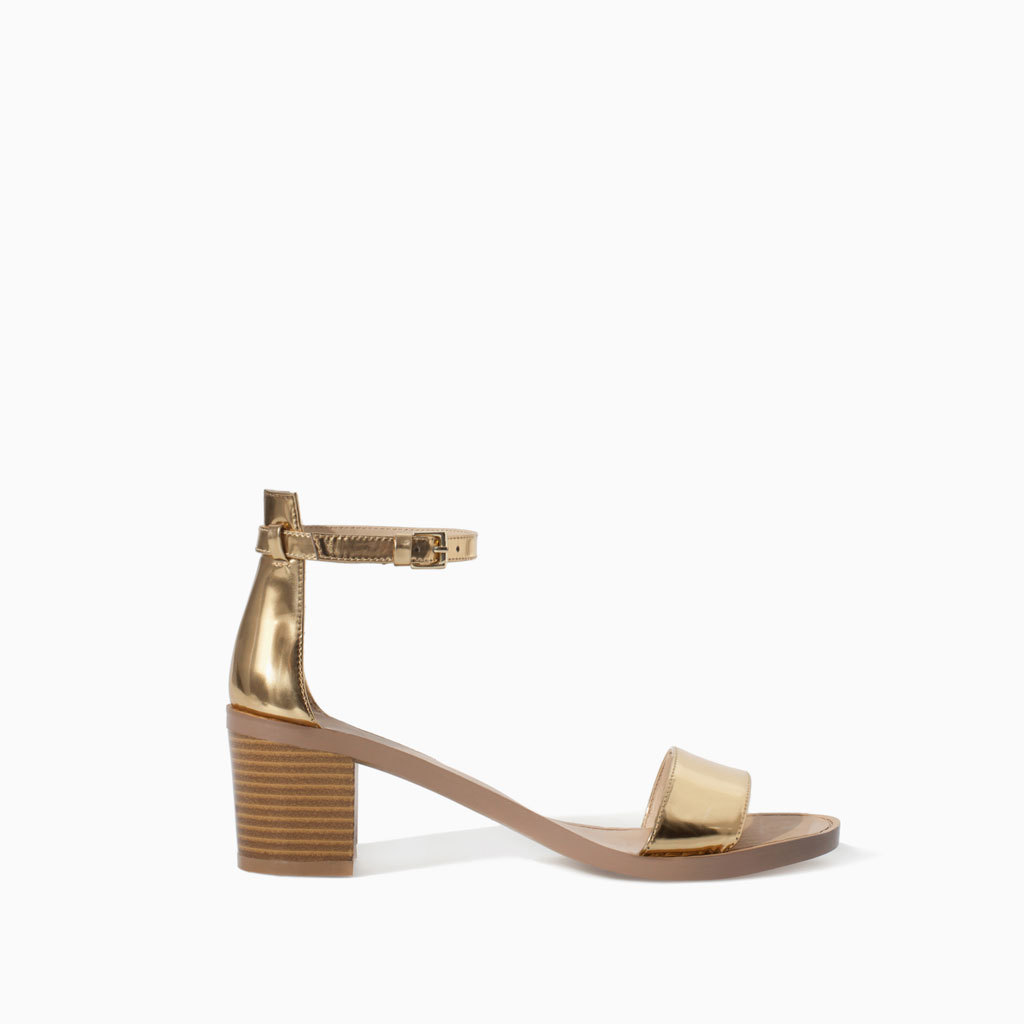Block Heel Sandal - predominant colour: gold; occasions: casual, creative work; material: faux leather; heel height: high; ankle detail: ankle strap; heel: block; toe: open toe/peeptoe; style: strappy; finish: metallic; pattern: plain; season: s/s 2014