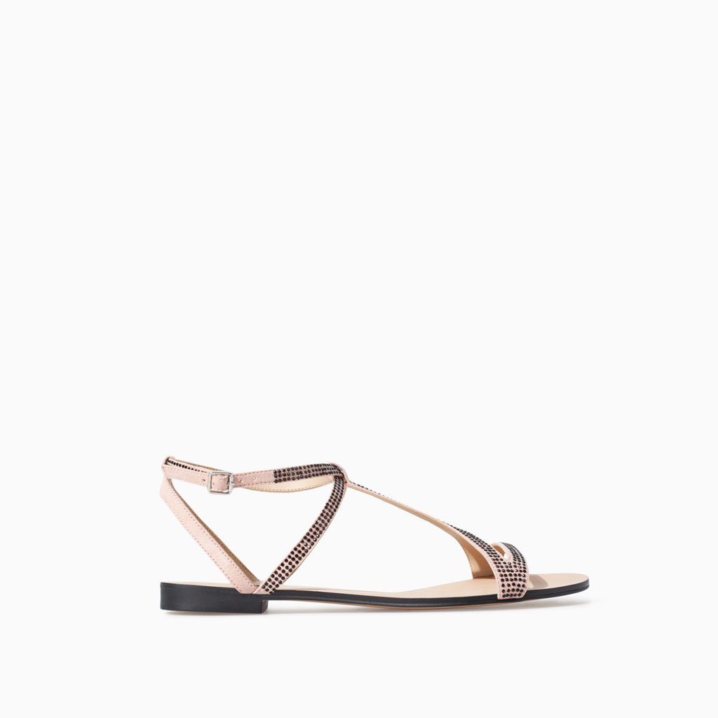 Shiny Sandal - predominant colour: blush; occasions: casual, holiday; material: faux leather; heel height: flat; embellishment: jewels/stone; ankle detail: ankle strap; heel: standard; toe: open toe/peeptoe; style: strappy; finish: plain; pattern: plain; trends: summer sparkle, shimmery metallics; season: s/s 2014