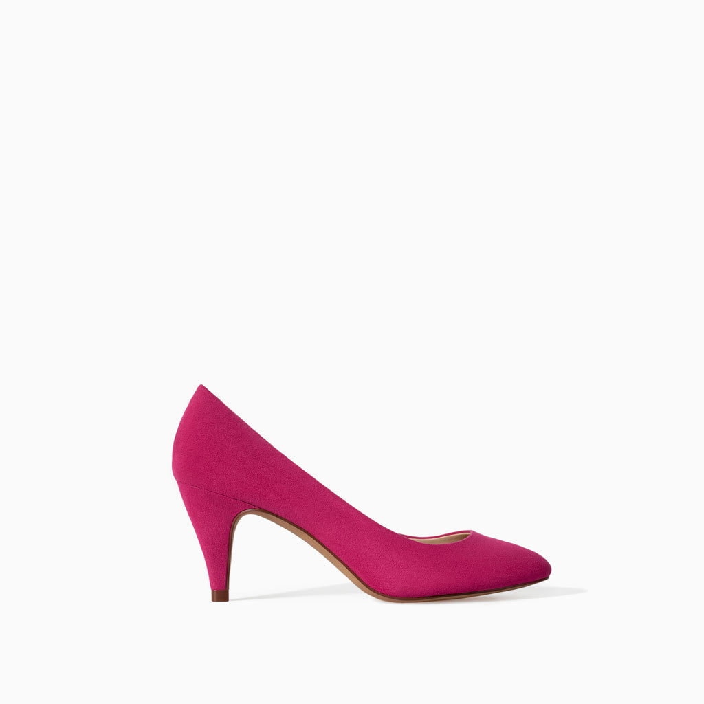 Medium Heel Court Shoe - predominant colour: hot pink; occasions: casual, evening, work, occasion, creative work; heel height: high; heel: cone; toe: pointed toe; style: courts; finish: plain; pattern: plain; material: faux suede; trends: hot brights; season: s/s 2014