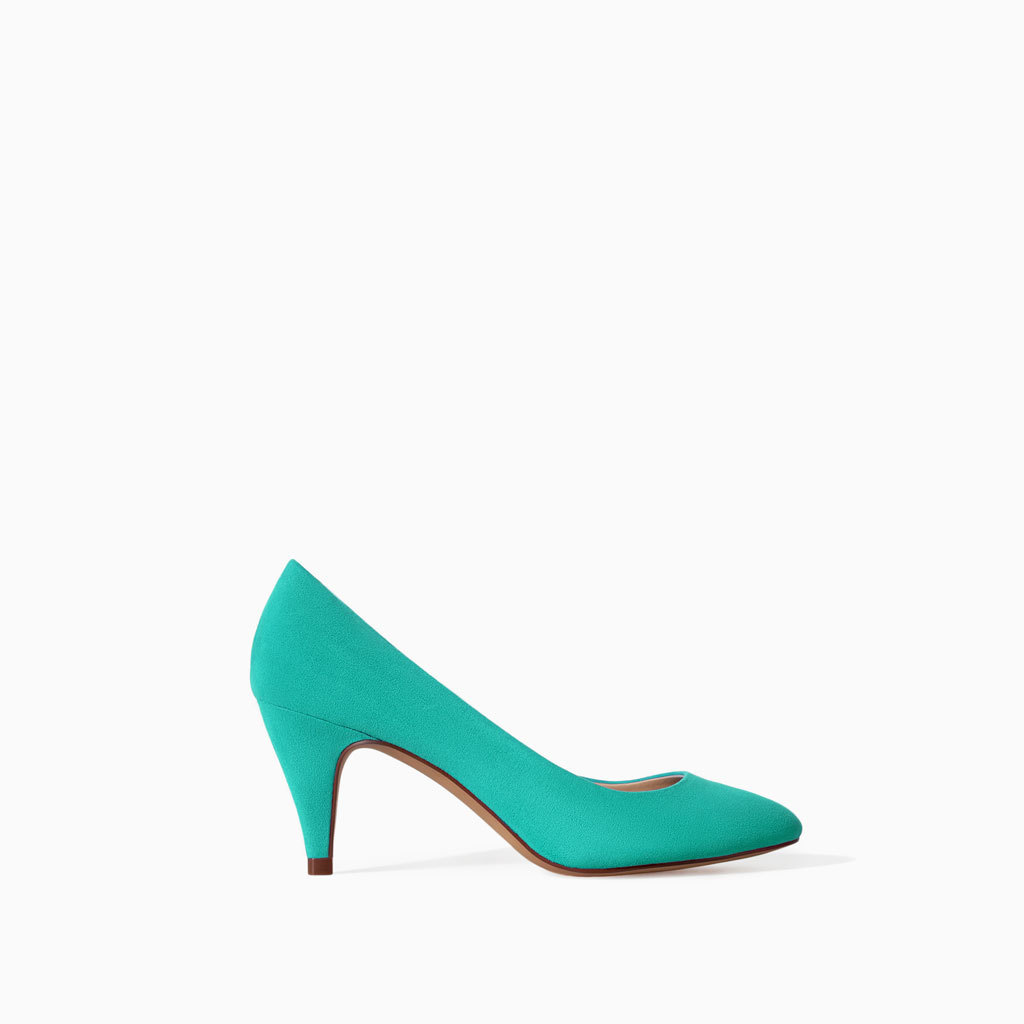 Medium Heel Court Shoe - predominant colour: mint green; occasions: casual, evening, work, occasion, creative work; heel height: high; heel: cone; toe: pointed toe; style: courts; finish: plain; pattern: plain; material: faux suede; trends: hot brights; season: s/s 2014