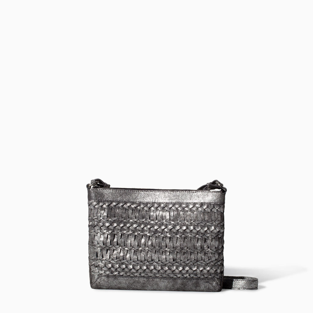 Braided Leather Messenger Bag - type of pattern: standard; style: messenger; length: across body/long; size: standard; material: leather; pattern: plain; finish: metallic; occasions: creative work; predominant colour: pewter; season: s/s 2014