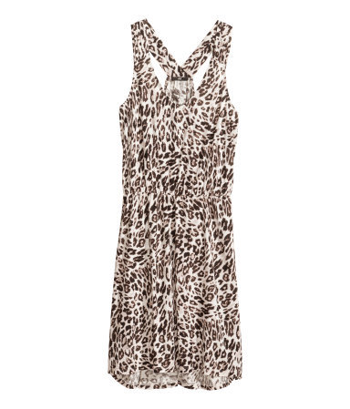 Beach Dress - style: shift; neckline: low v-neck; sleeve style: standard vest straps/shoulder straps; fit: fitted at waist; back detail: racer back/sports back; secondary colour: ivory/cream; predominant colour: camel; occasions: casual, holiday; length: just above the knee; fibres: viscose/rayon - 100%; sleeve length: sleeveless; pattern type: fabric; pattern size: standard; pattern: animal print; texture group: jersey - stretchy/drapey; trends: world traveller; season: s/s 2014