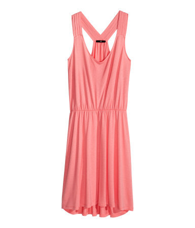 Beach Dress - style: shift; neckline: low v-neck; sleeve style: standard vest straps/shoulder straps; fit: fitted at waist; pattern: plain; back detail: racer back/sports back; predominant colour: pink; occasions: casual, holiday; length: just above the knee; fibres: viscose/rayon - stretch; sleeve length: sleeveless; pattern type: fabric; texture group: jersey - stretchy/drapey; trends: sorbet shades; season: s/s 2014