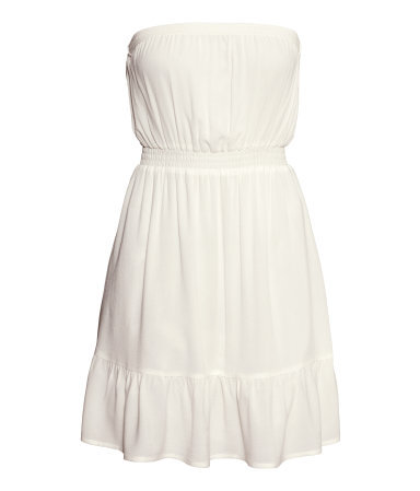 Bandeau Dress - neckline: strapless (straight/sweetheart); fit: fitted at waist; pattern: plain; sleeve style: strapless; style: sundress; waist detail: elasticated waist; predominant colour: white; occasions: casual, evening, holiday; length: just above the knee; fibres: viscose/rayon - 100%; sleeve length: sleeveless; texture group: cotton feel fabrics; pattern type: fabric; season: s/s 2014