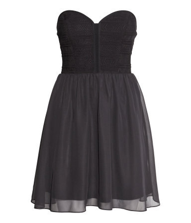 Bandeau Dress - length: mid thigh; neckline: strapless (straight/sweetheart); pattern: plain; sleeve style: strapless; predominant colour: black; occasions: evening, occasion; fit: fitted at waist & bust; style: fit & flare; fibres: polyester/polyamide - 100%; sleeve length: sleeveless; texture group: sheer fabrics/chiffon/organza etc.; pattern type: fabric; season: s/s 2014
