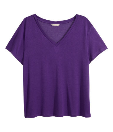 + V Neck T Shirt - neckline: v-neck; pattern: plain; style: t-shirt; predominant colour: purple; occasions: casual; length: standard; fibres: viscose/rayon - 100%; fit: loose; sleeve length: short sleeve; sleeve style: standard; pattern type: fabric; texture group: jersey - stretchy/drapey; season: s/s 2014