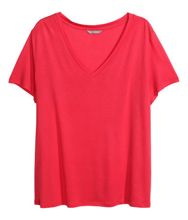 + V Neck T Shirt - neckline: v-neck; pattern: plain; style: t-shirt; predominant colour: hot pink; occasions: casual; length: standard; fibres: viscose/rayon - 100%; fit: body skimming; sleeve length: short sleeve; sleeve style: standard; pattern type: fabric; texture group: jersey - stretchy/drapey; trends: hot brights; season: s/s 2014