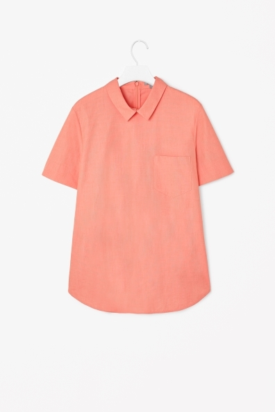 Cotton Top With Collar - pattern: plain; style: shirt; predominant colour: coral; occasions: casual, creative work; length: standard; fibres: cotton - 100%; fit: straight cut; neckline: no opening/shirt collar/peter pan; sleeve length: short sleeve; sleeve style: standard; texture group: cotton feel fabrics; pattern type: fabric; trends: sorbet shades; season: s/s 2014