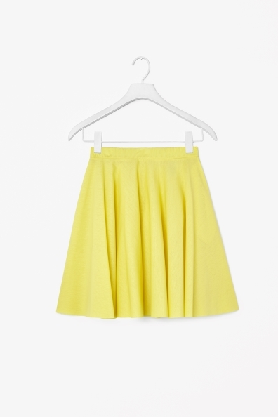 Circle Jersey Skirt - length: mid thigh; pattern: plain; style: full/prom skirt; fit: loose/voluminous; waist: mid/regular rise; predominant colour: yellow; occasions: casual; fibres: cotton - 100%; pattern type: fabric; texture group: jersey - stretchy/drapey; trends: hot brights; season: s/s 2014