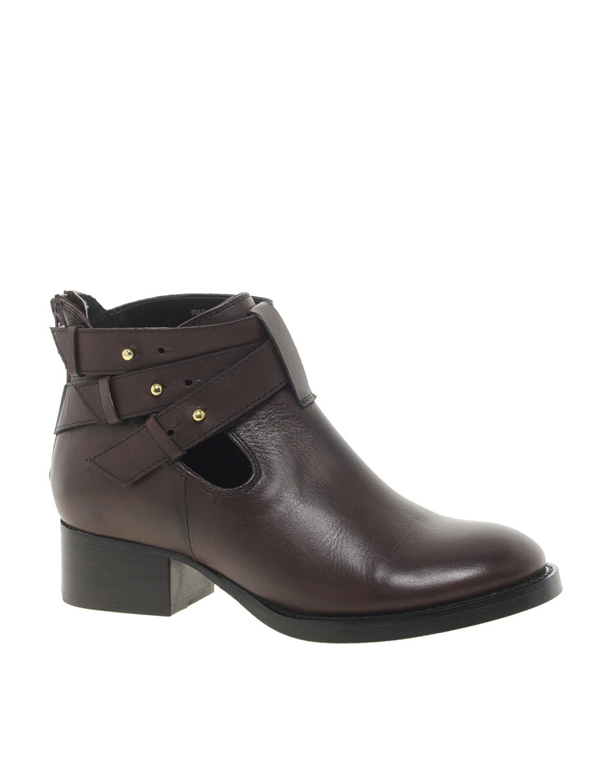 After All Leather Cut Out Ankle Boots Red - predominant colour: burgundy; occasions: casual, creative work; material: leather; heel height: mid; heel: block; toe: round toe; boot length: ankle boot; style: standard; finish: plain; pattern: plain; season: s/s 2014