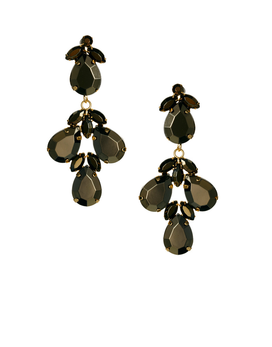 Metallic Vine Earrings Gold - predominant colour: chocolate brown; secondary colour: black; occasions: evening, occasion; style: chandelier; length: long; size: standard; material: chain/metal; fastening: pierced; finish: metallic; embellishment: jewels/stone; season: s/s 2014