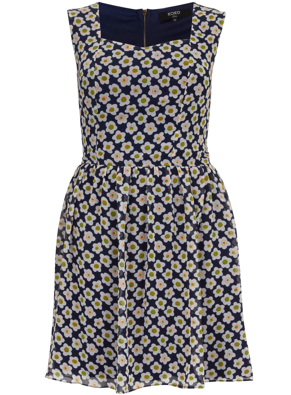 Koko Koko Blue Daisy Print Skater Dress - length: mid thigh; sleeve style: sleeveless; predominant colour: navy; secondary colour: khaki; occasions: casual, creative work; fit: fitted at waist & bust; style: fit & flare; fibres: polyester/polyamide - 100%; hip detail: soft pleats at hip/draping at hip/flared at hip; sleeve length: sleeveless; texture group: sheer fabrics/chiffon/organza etc.; neckline: low square neck; pattern type: fabric; pattern size: standard; pattern: florals; season: s/s 2014