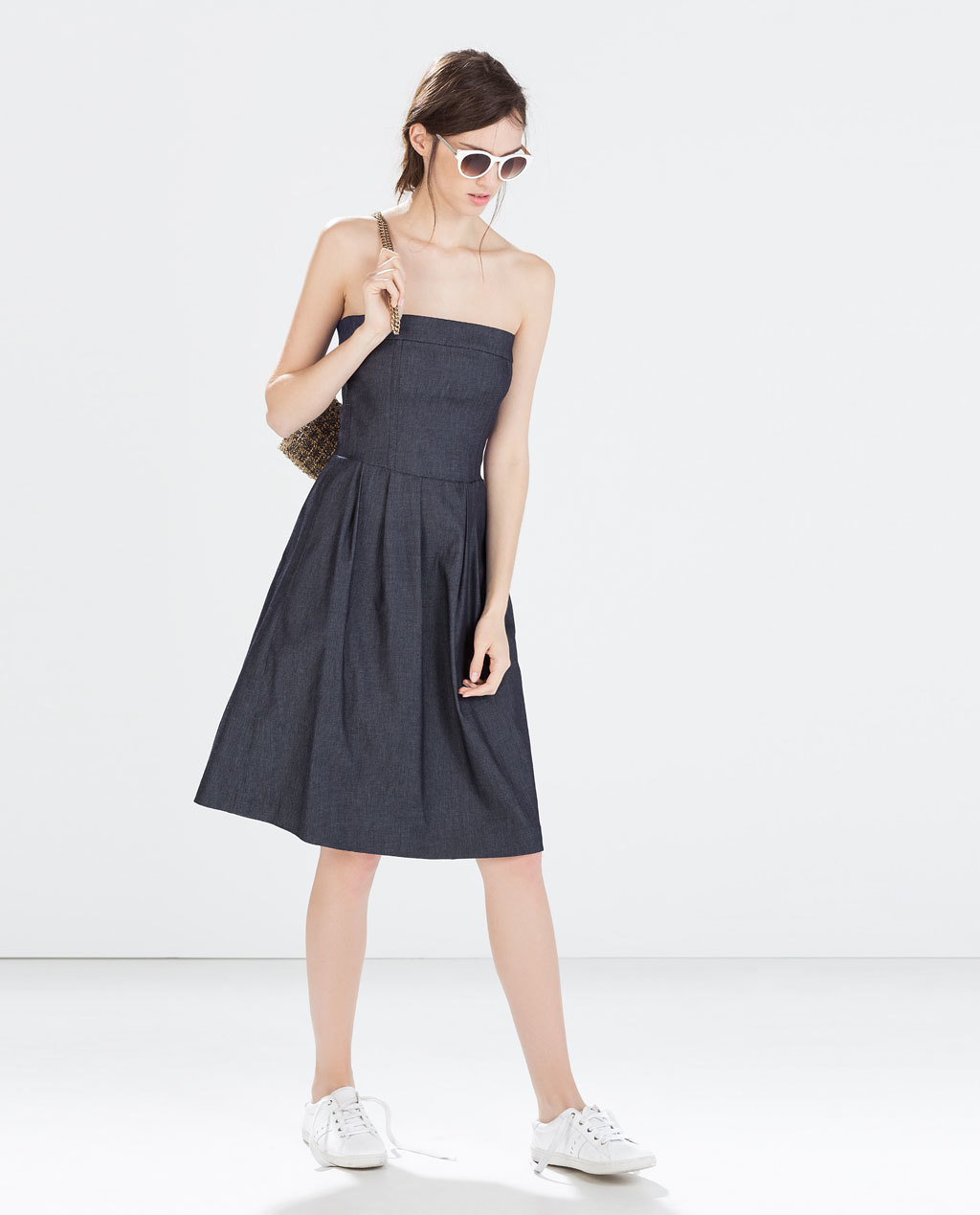 Denim Dress - neckline: strapless (straight/sweetheart); pattern: plain; style: prom dress; sleeve style: strapless; predominant colour: black; occasions: casual, evening, holiday; length: on the knee; fit: fitted at waist & bust; fibres: cotton - stretch; hip detail: adds bulk at the hips; sleeve length: sleeveless; texture group: denim; pattern type: fabric; season: s/s 2014