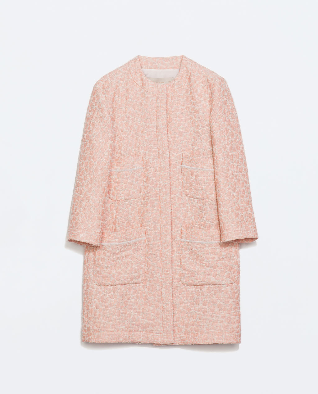 Jacquard Coat With Pockets - pattern: plain; collar: round collar/collarless; style: single breasted; length: mid thigh; secondary colour: white; predominant colour: pink; occasions: casual, work, occasion, creative work; fit: straight cut (boxy); fibres: cotton - mix; sleeve length: 3/4 length; sleeve style: standard; collar break: high; pattern type: fabric; texture group: brocade/jacquard; trends: sorbet shades; season: s/s 2014