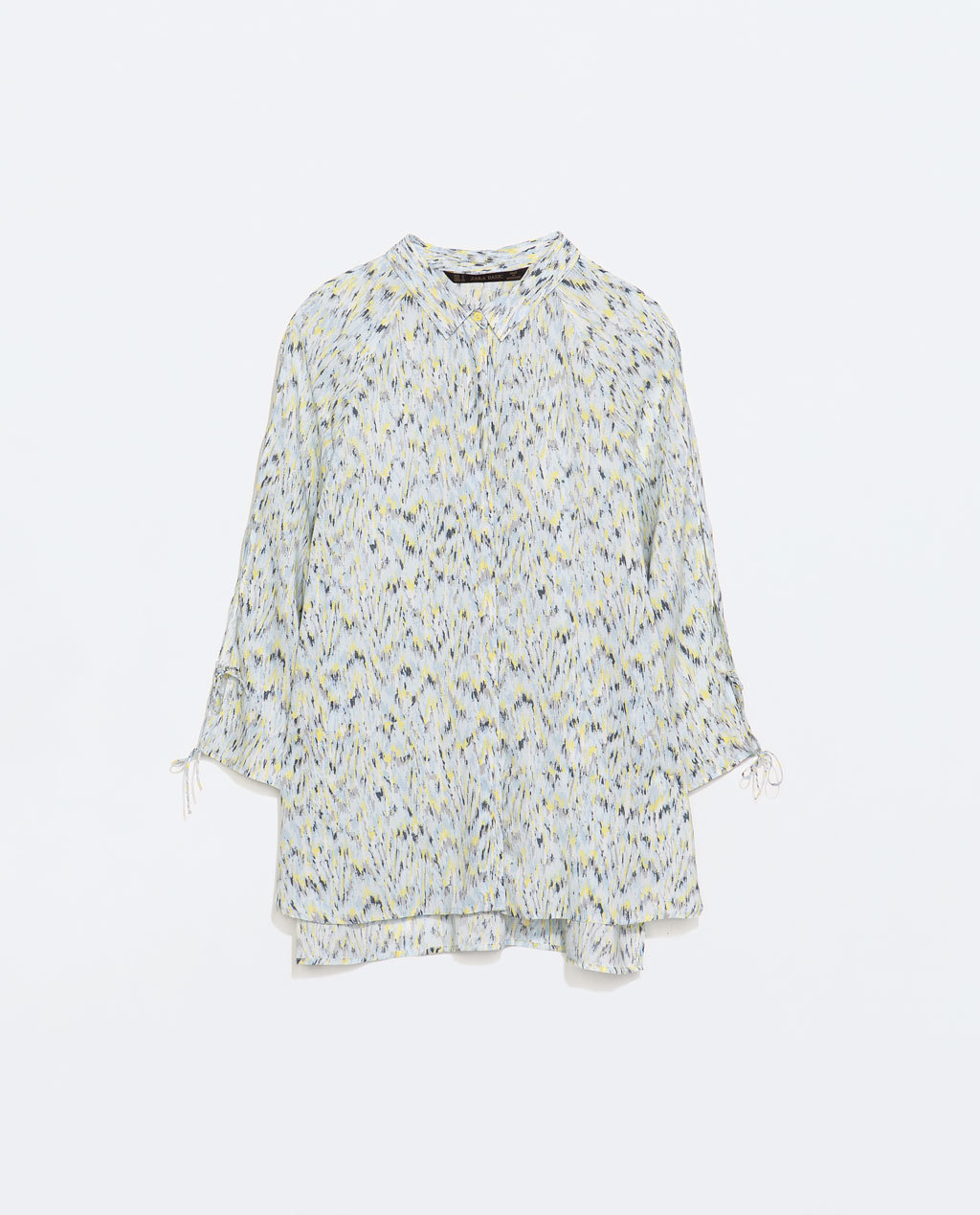 Printed Tie Blouse - neckline: shirt collar/peter pan/zip with opening; style: shirt; occasions: casual, work, creative work; length: standard; fibres: polyester/polyamide - 100%; fit: loose; predominant colour: multicoloured; sleeve length: 3/4 length; sleeve style: standard; texture group: sheer fabrics/chiffon/organza etc.; pattern type: fabric; pattern size: standard; pattern: patterned/print; season: s/s 2014; multicoloured: multicoloured