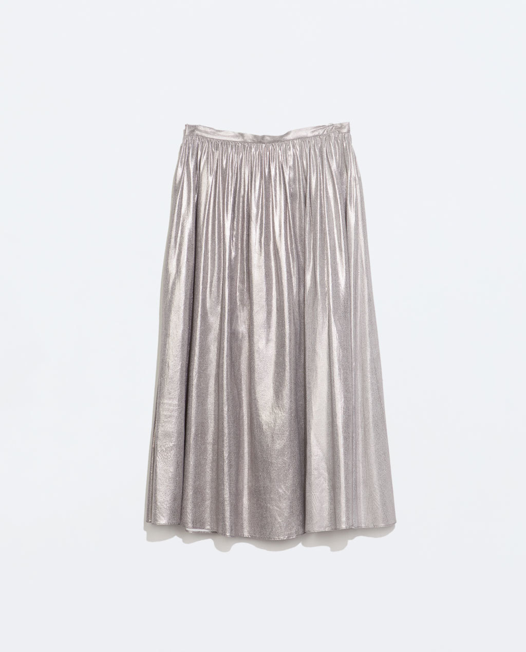Voluminous Midi Skirt - length: calf length; pattern: plain; style: full/prom skirt; fit: loose/voluminous; waist: high rise; predominant colour: silver; occasions: evening; fibres: viscose/rayon - 100%; hip detail: soft pleats at hip/draping at hip/flared at hip; waist detail: narrow waistband; pattern type: fabric; texture group: other - light to midweight; trends: shimmery metallics; season: s/s 2014