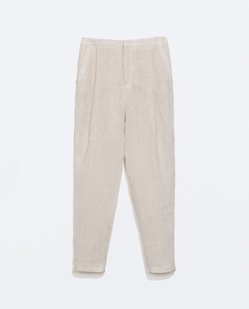 Linen Side Stripe Trousers - pattern: plain; style: peg leg; waist: high rise; predominant colour: stone; occasions: casual, creative work; length: ankle length; fibres: linen - mix; texture group: linen; fit: tapered; pattern type: fabric; season: s/s 2014