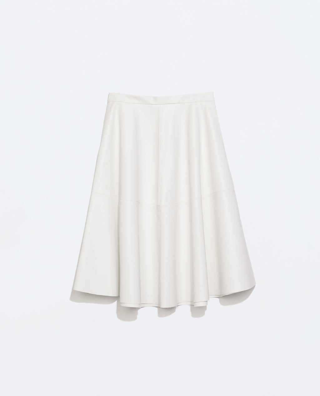 Faux Leather Flared Skirt - length: below the knee; pattern: plain; style: full/prom skirt; fit: loose/voluminous; waist: high rise; predominant colour: white; occasions: evening, creative work; hip detail: structured pleats at hip; texture group: leather; pattern type: fabric; fibres: pvc/polyurethene - 100%; season: s/s 2014