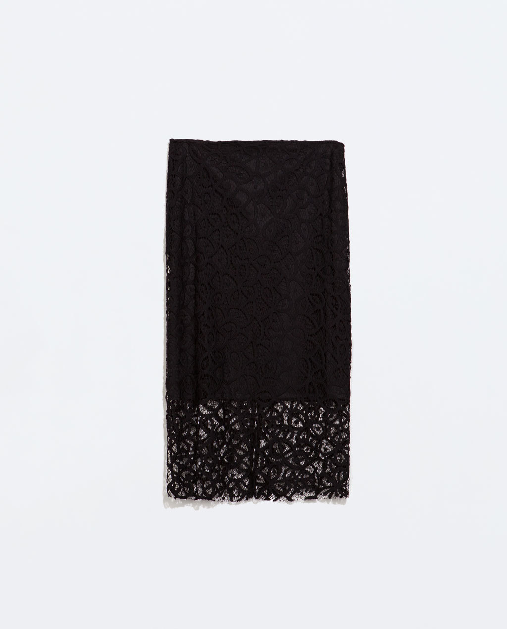 Guipure Lace Pencil Skirt - style: pencil; fit: tailored/fitted; waist: high rise; predominant colour: black; occasions: evening; length: on the knee; fibres: polyester/polyamide - 100%; texture group: lace; pattern type: fabric; pattern: patterned/print; trends: lace; season: s/s 2014