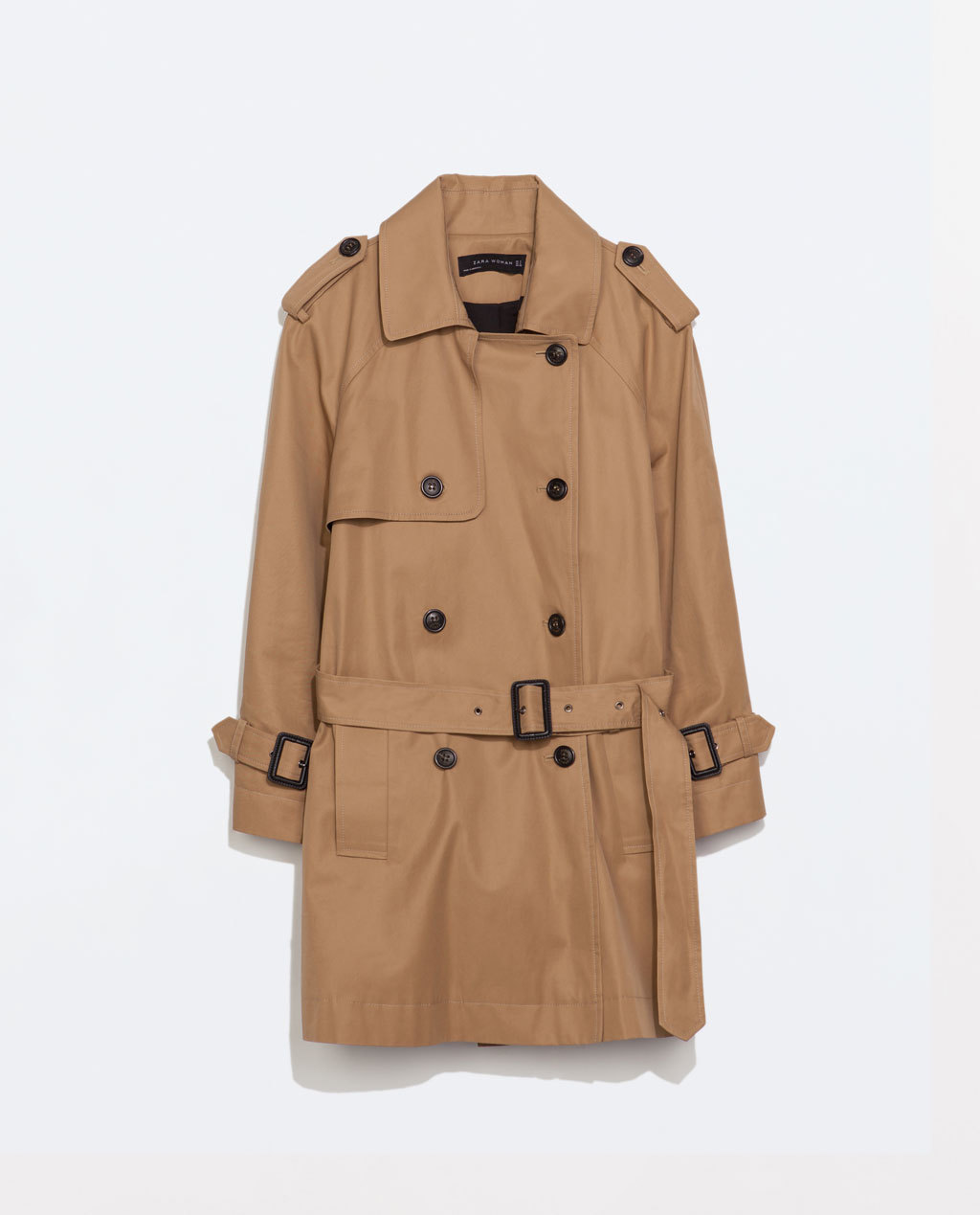 Short Trench Coat - pattern: plain; length: below the bottom; shoulder detail: obvious epaulette; style: trench coat; collar: standard lapel/rever collar; predominant colour: camel; occasions: casual, work, creative work; fit: straight cut (boxy); fibres: cotton - 100%; waist detail: belted waist/tie at waist/drawstring; sleeve length: long sleeve; sleeve style: standard; texture group: technical outdoor fabrics; collar break: medium; pattern type: fabric; season: s/s 2014