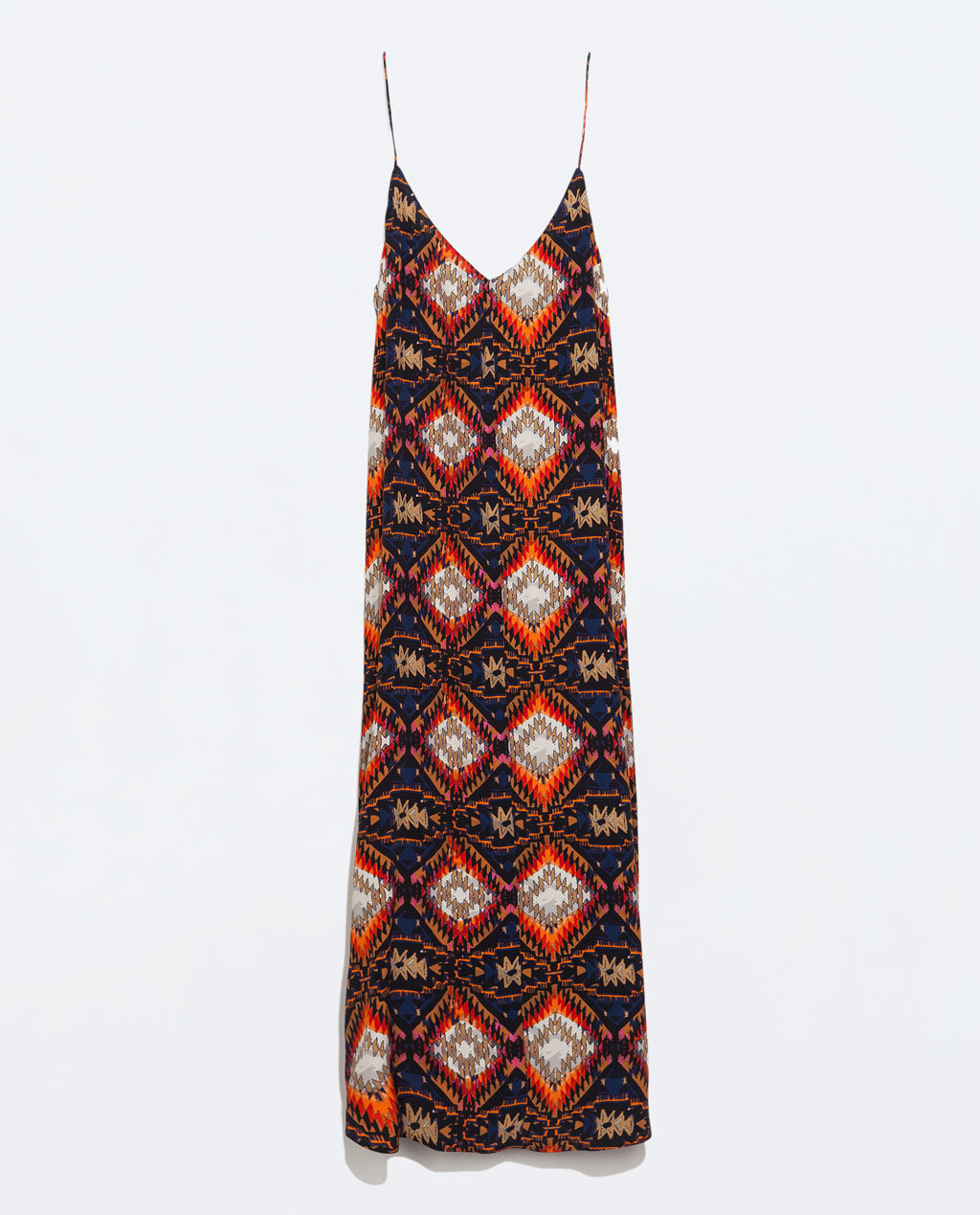 Printed Maxi Dress - neckline: low v-neck; sleeve style: spaghetti straps; fit: loose; style: maxi dress; length: ankle length; occasions: casual, holiday; fibres: viscose/rayon - stretch; predominant colour: multicoloured; sleeve length: sleeveless; pattern type: fabric; pattern size: standard; pattern: patterned/print; texture group: jersey - stretchy/drapey; season: s/s 2014; multicoloured: multicoloured