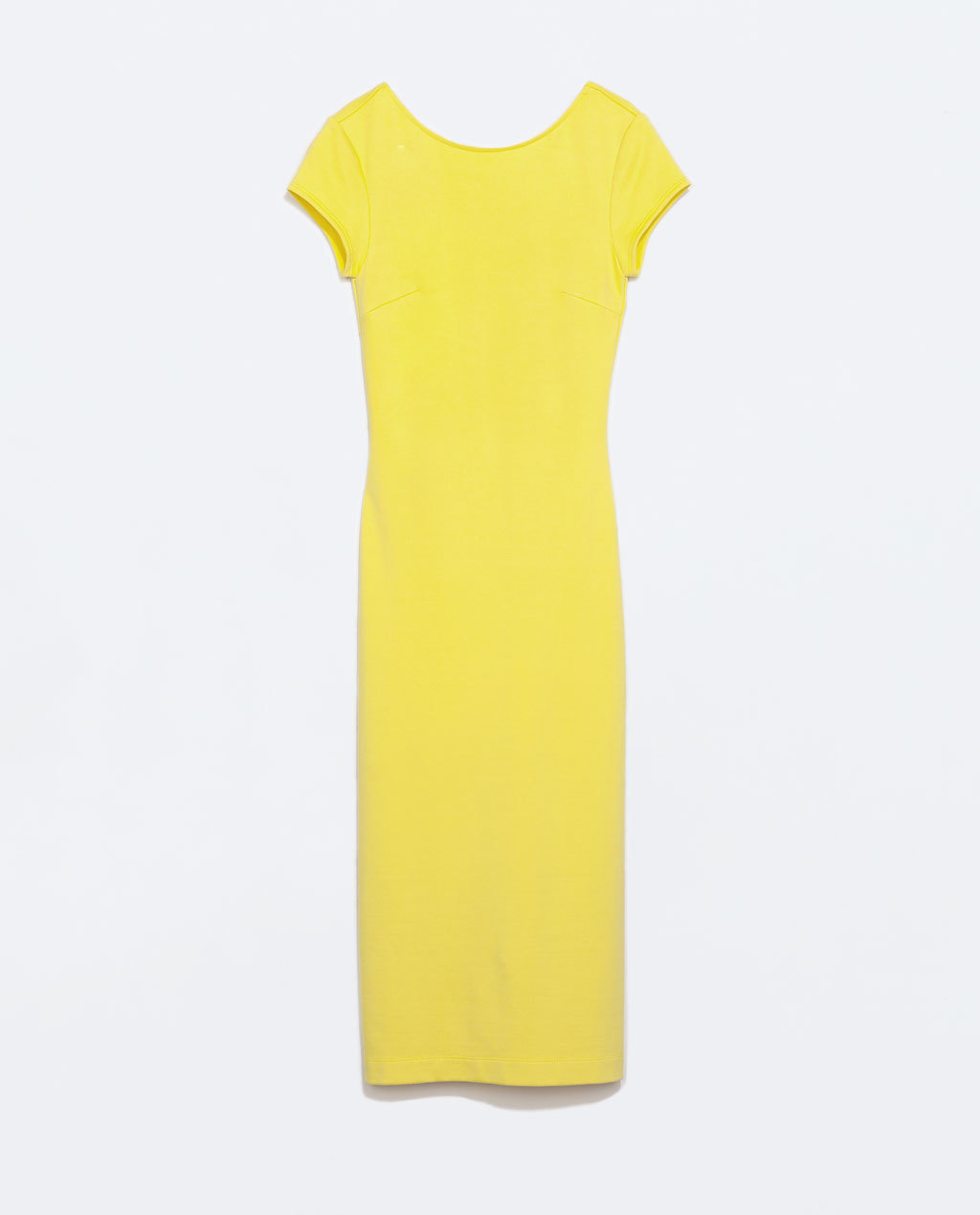 Long Shift Dress - style: shift; length: calf length; neckline: slash/boat neckline; sleeve style: capped; pattern: plain; predominant colour: yellow; occasions: casual, evening, creative work; fit: body skimming; fibres: viscose/rayon - stretch; sleeve length: sleeveless; texture group: jersey - clingy; pattern type: fabric; trends: hot brights; season: s/s 2014