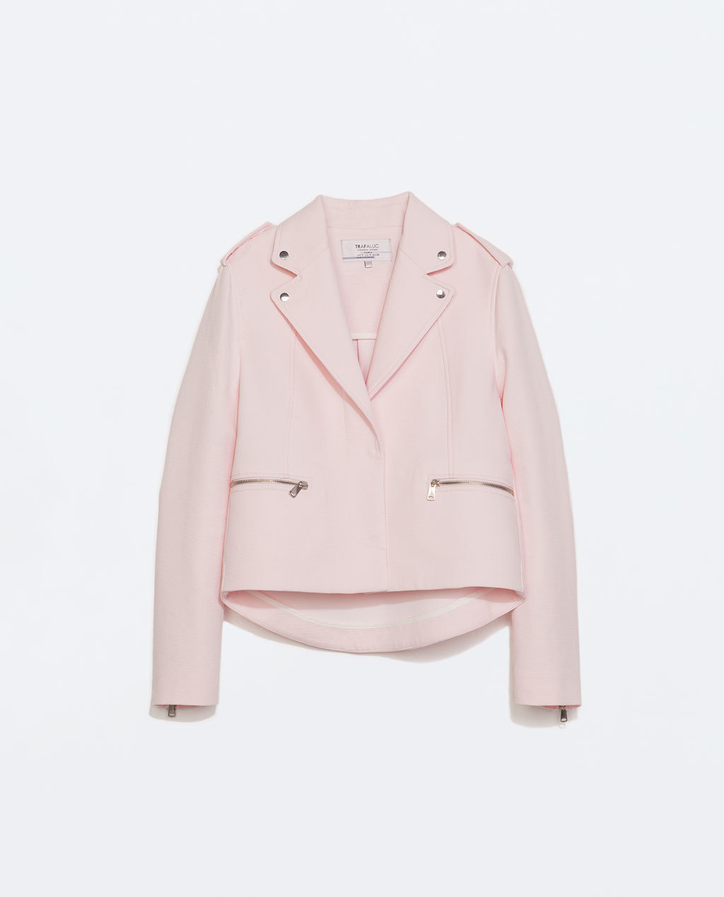 Structured Jacket - pattern: plain; style: biker; collar: asymmetric biker; predominant colour: blush; occasions: casual, evening, creative work; length: standard; fit: straight cut (boxy); fibres: cotton - 100%; shoulder detail: discreet epaulette; sleeve length: long sleeve; sleeve style: standard; texture group: cotton feel fabrics; collar break: medium; pattern type: fabric; trends: sorbet shades; season: s/s 2014