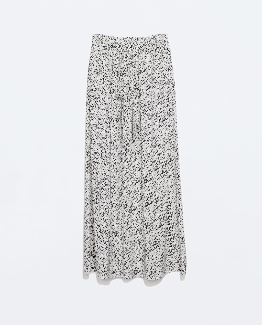 Long Printed Skirt - fit: loose/voluminous; waist: high rise; waist detail: belted waist/tie at waist/drawstring; secondary colour: mid grey; predominant colour: light grey; occasions: casual, holiday; length: floor length; style: maxi skirt; fibres: polyester/polyamide - 100%; hip detail: soft pleats at hip/draping at hip/flared at hip; pattern type: fabric; pattern: patterned/print; texture group: other - light to midweight; season: s/s 2014; pattern size: standard (bottom)