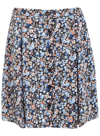 Ditsy Button Mini Skirt - length: mid thigh; fit: loose/voluminous; style: pleated; waist: high rise; occasions: casual, holiday, creative work; fibres: viscose/rayon - 100%; predominant colour: multicoloured; texture group: cotton feel fabrics; pattern type: fabric; pattern: florals; season: s/s 2014; pattern size: standard (bottom); multicoloured: multicoloured